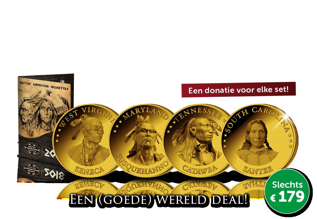 Complete set van 15 Officiële Dollarmunten! Native American Quarters
