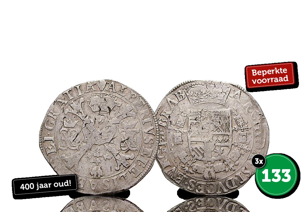 400 jaar oude grote zilveren Patagon