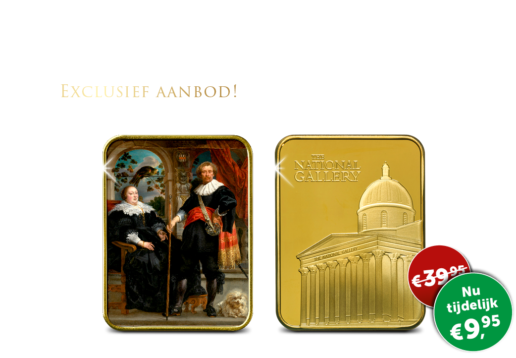 "Gelimiteerde kunstbaar verguld in 24-karaats goud ""Portret van Cornelis Diest."""