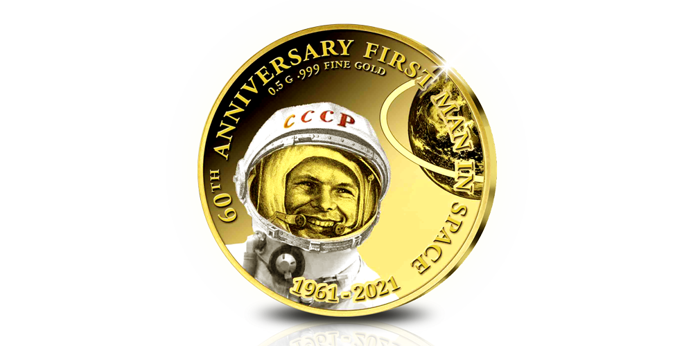 Koop munten online | Kleinste goud | Eerste mens in de ruimte