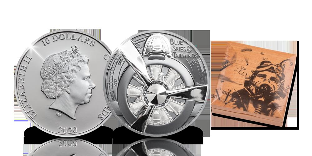 Koop munten online | Zilveren munten | Vliegtuigmunt in ultrahoog reliëf