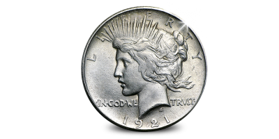 Uw High Relief Peace Dollar 1921 in Zilver