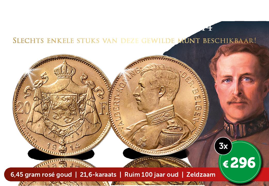 Zeer bijzondere massief gouden 20 Frank – Albert I