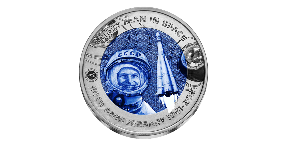 Premium-editie van de Titanium-munten ter ere van de eerste man in de ruimte en de NASA Rover Touchdown op Mars