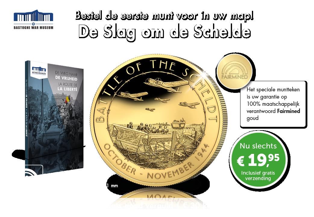 De Slag om de Schelde, grote 24-karaats goud vergulde munt