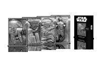Iconische scenes uit de Star wars films afgebeeld