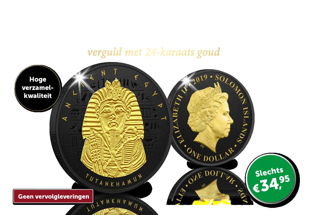Prachtige zwart met goud vergulde munt! | € 34,95
