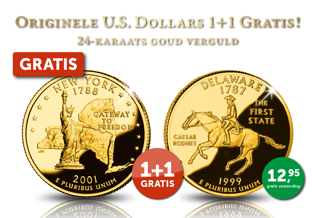 De '50 State Quarter'-reeks: een unieke reeks met 24-karaats goud vergulde munten