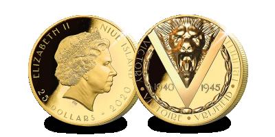 """9-karaats gouden munt """" 75 jaar vrijheid, vrede en overwinning """""""