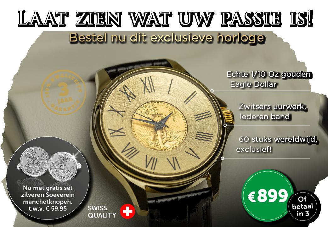 Exclusief gouden Dollar horloge!