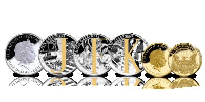 """4-delige muntenset """" 60 jaar President John F Kennedy""""'"""