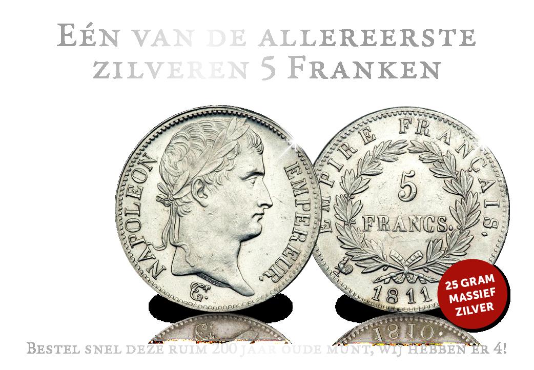 Originele massief zilveren 5 Frank - Napoleon