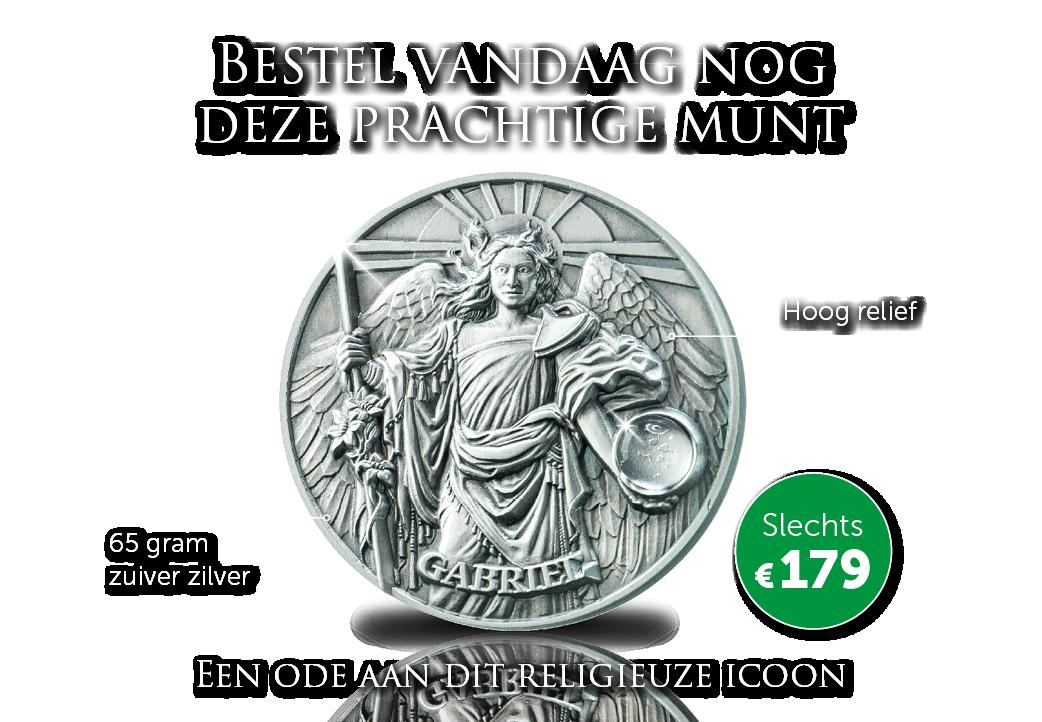 Prachtige zilveren munt met bergkristal!